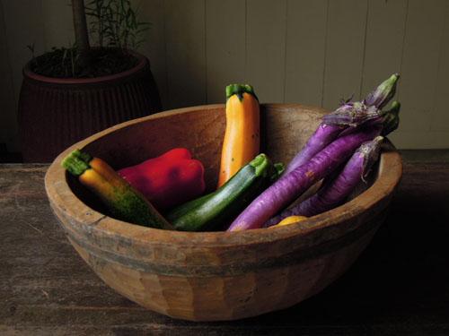 野菜やフルーツのストックをしても,アンティーク,器,ボウル,木製,プリミティブ,金具,刳り貫き型,雑貨,古道具