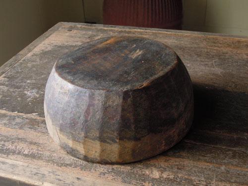 裏,アンティーク,器,ボウル,木製,刳り貫き,こね鉢,プリミティブ,ディスプレイ,ショップ