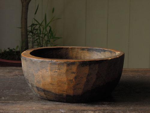 アンティーク,器,ボウル,木製,刳り貫き,こね鉢,プリミティブ,ディスプレイ,ショップ