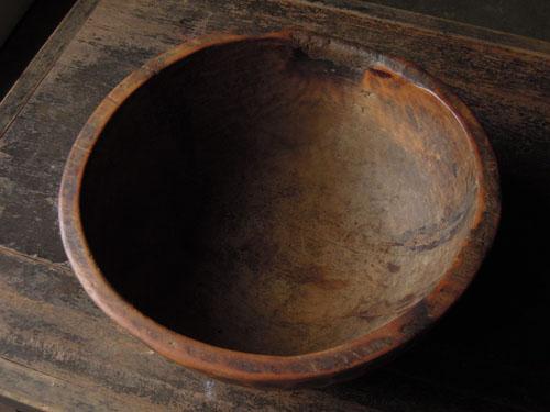 ボウル型,アンティーク,器,ボウル,木製,プリミティブ,金具,刳り貫き型,雑貨,古道具