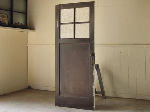 こげ茶側,アンティーク,ヴィンテージ,建具,ドア,木製ドア,白,ペイント,こげ茶,ガラス窓