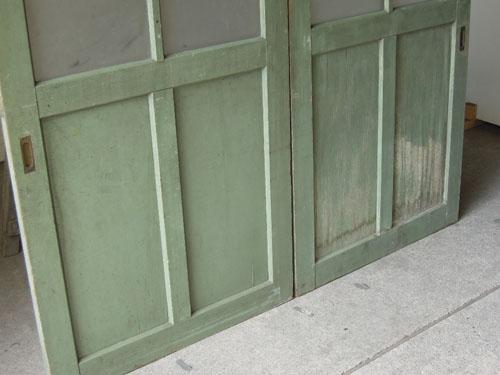 鏡板に浮きあり,アンティーク,ドア,建具,引戸,ペイント,ペールグリーン,リノベーション,店舗