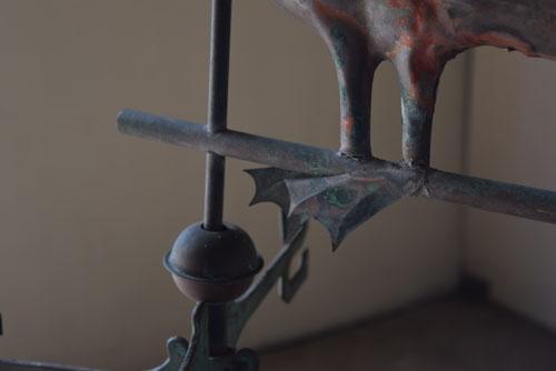 水かきまであって繊細なつくり,アンティーク,風見鶏,フランス,鉄,銅,古道具,ブロカント,希少,ペリカン