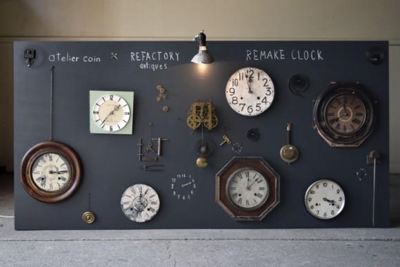 アンティーク時計,リメイク,作家,展示,アトリエコワン,REFACTORYantiques,文字盤,振り子時計,空間演出,インスタレーション,古時計