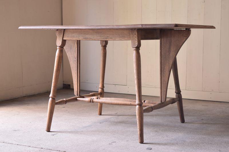 バタフライテーブル,楢材テーブル,アンティーク,ダイニングテーブル,陳列台
