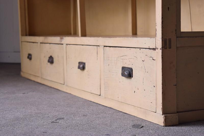 引き出しは4杯,アンティーク,ヴィンテージ,特大,ガラス戸棚,ガラスケース,本棚,食器棚,陳列,ショーケース,ショップ,什器