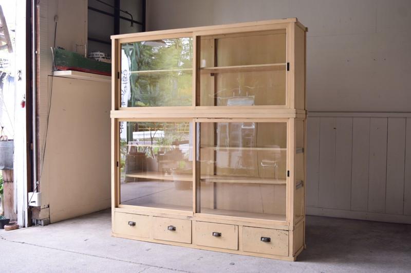 アンティーク,ヴィンテージ,特大,ガラス戸棚,ガラスケース,本棚,食器棚,陳列,ショーケース,ショップ,REFACTORY antiques