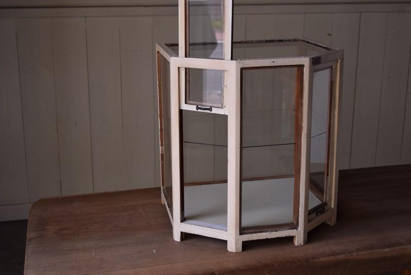 扉を上下に動かして開閉する仕組み,アンティーク,ヴィンテージ,ガラスケース,希少,大正,明治,ジュエリーケース,ペイント,白