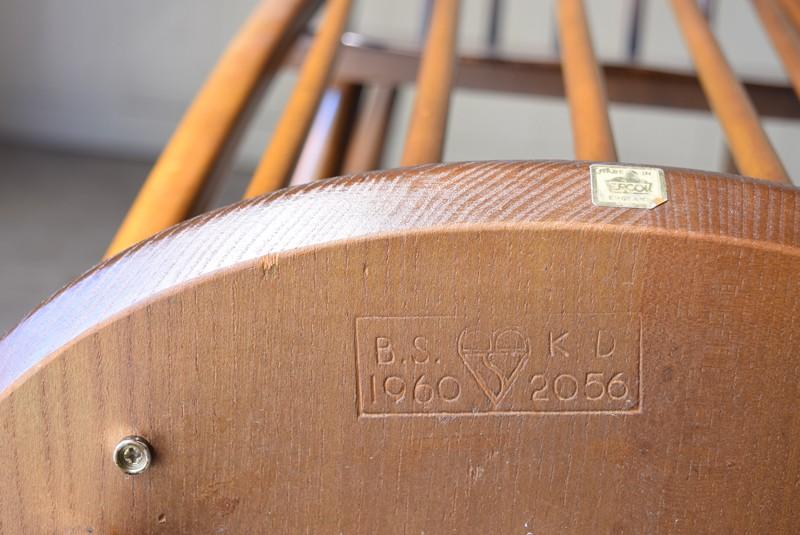 ロゴ,刻印,ヴィンテージ,アンティーク,アーコール,ERCOL,椅子,チェア,クエーカーチェア,ウィンザーチェア,イギリス