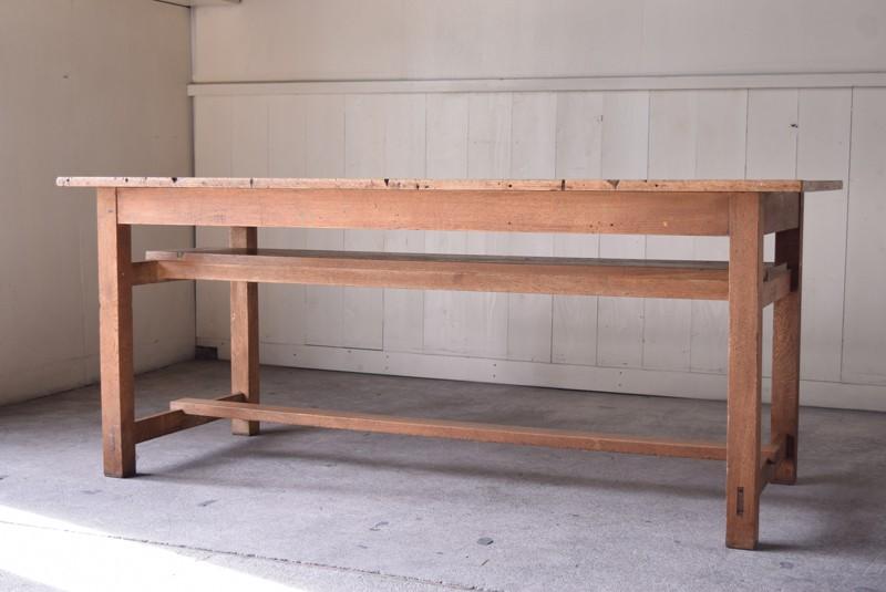 アンティーク,楢材,ナラ材,テーブル,作業台,学校,アトリエ,図工室