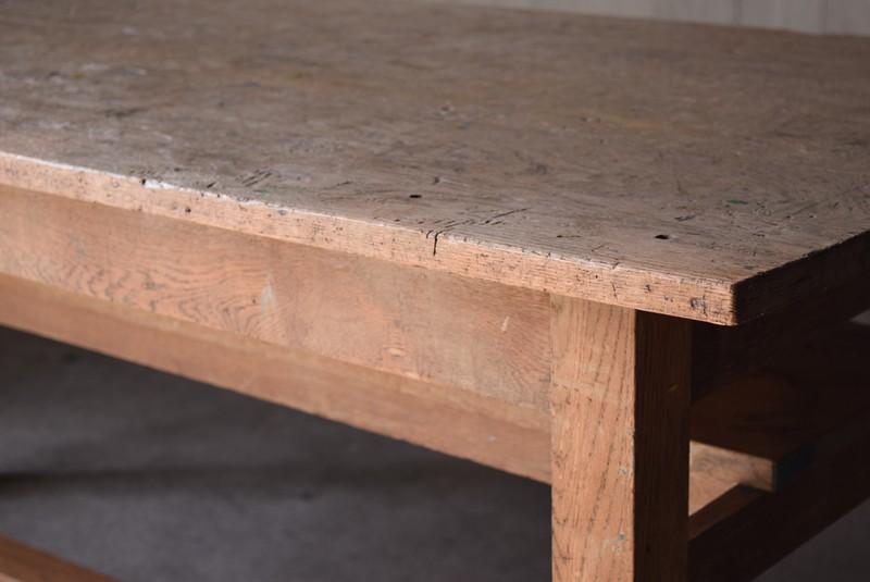 アンティーク,楢材,ナラ材,テーブル,作業台,学校,アトリエ,図工室,天板厚