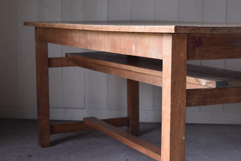 アンティーク,楢材,ナラ材,テーブル,作業台,学校,アトリエ,図工室,無垢,味