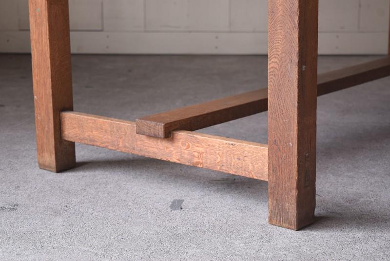 アンティーク,楢材,ナラ材,テーブル,作業台,学校,アトリエ,図工室,脚