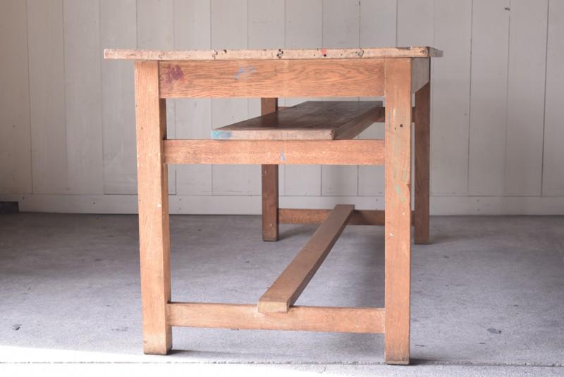 アンティーク,楢材,ナラ材,テーブル,作業台,学校,アトリエ,図工室,側面