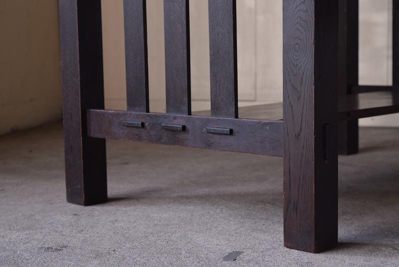 アンティーク,ヴィンテージ,机,平机,アールデコ,濃茶,しっかりとした造りの脚元