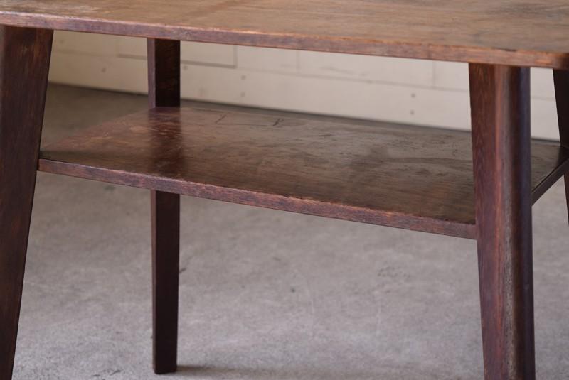 アンティーク,ヴィンテージ,テーブル,センターテーブル,ナラ材,楢材,カフェ,棚板付き