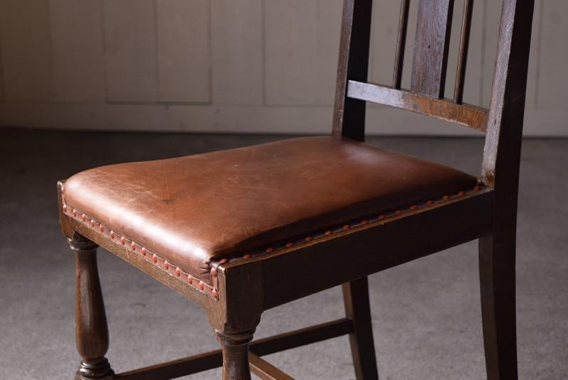 シートはレザー,アンティーク,ハイバックチェア,チェア,椅子,楢,レザー,書斎,洋館,ヨーロッパ