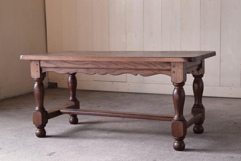 重厚な飾り脚,アンティーク,ヴィンテージ,センターテーブル,ローテーブル,ナラ材無垢,楢材
