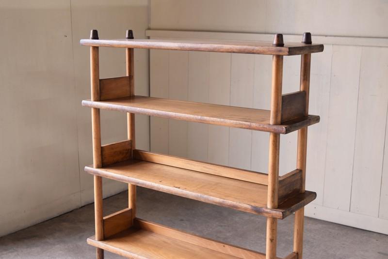 上段には背板なし,アンティーク,本棚,オープンラック,収納,陳列,什器,ショップ