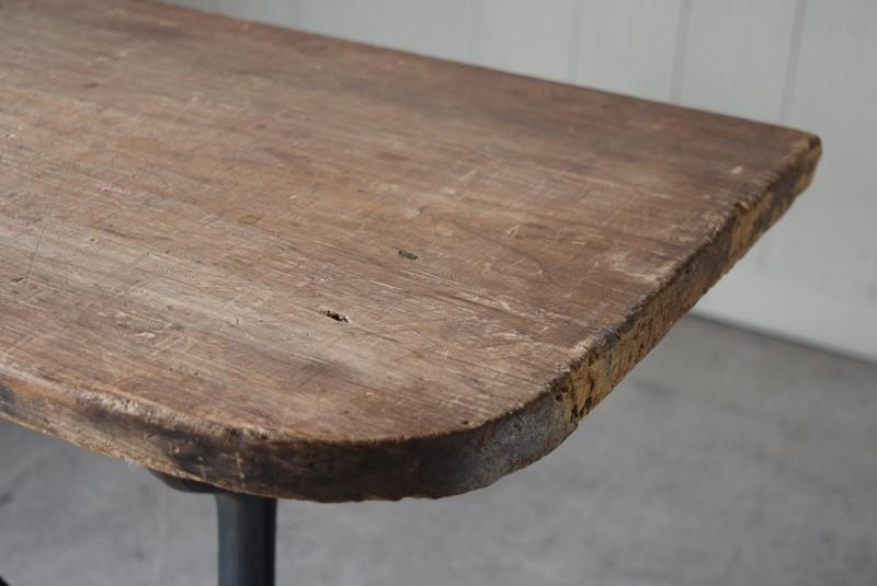 味のある古材,アンティーク,鉄脚,テーブル,什器,作業台,フランス