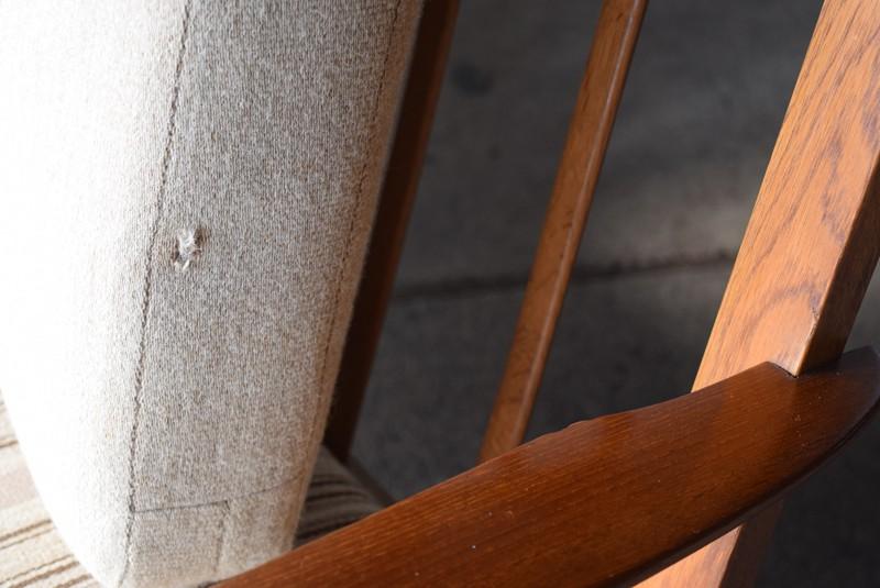 ファブリックの穴,3人掛けソファ,デンマーク,チーク材,ヴィンテージ,60's,70's、