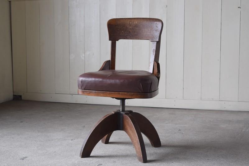 アンティーク,ヴィンテージ,チェア,椅子,回転椅子,郵便局,木製,ナラ材,ディスプレイ,什器