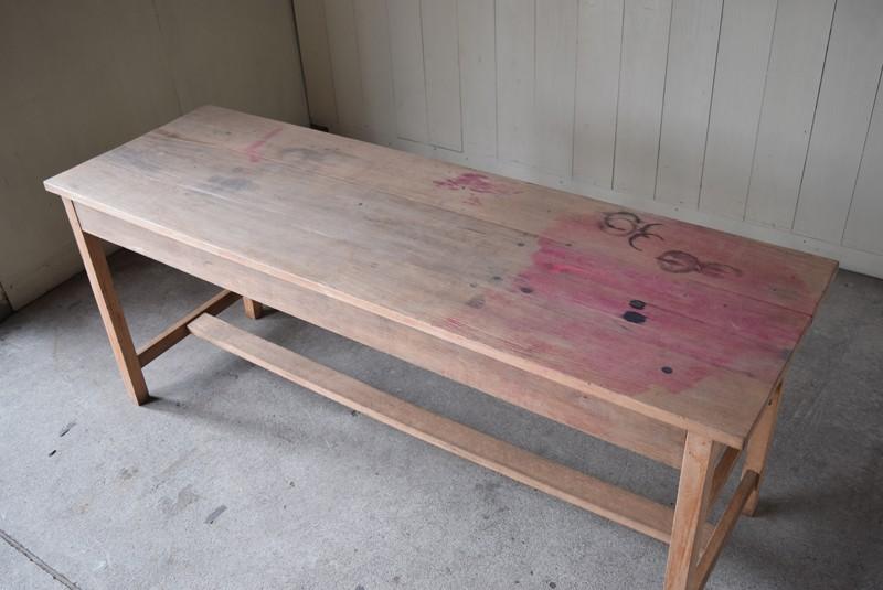 俯瞰,アンティーク,テーブル,陳列台,作業台,カウンター,長テーブル,ワークテーブル,無垢材