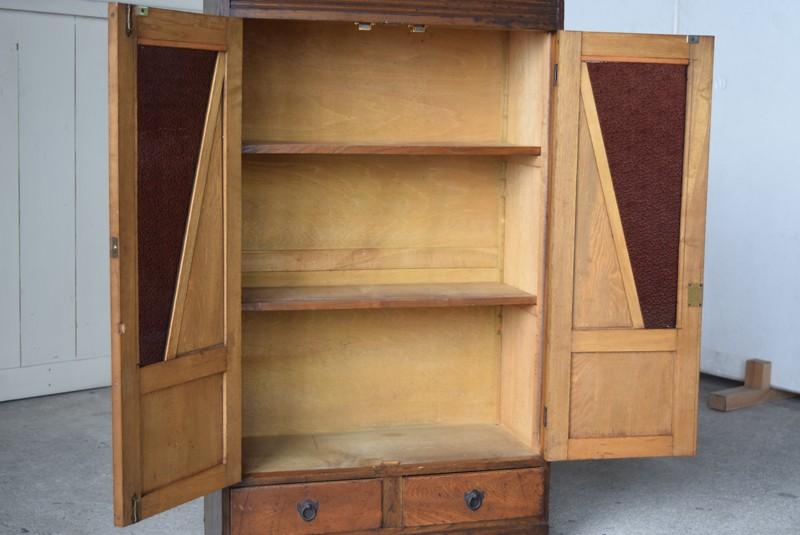 ガラス戸内部の状態,アンティーク,食器棚,本棚,収納棚,本箱,ダイヤガラス,色硝子,引き出し,