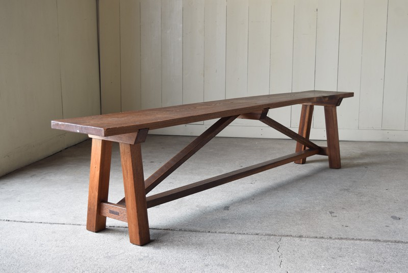 スツール 腰かけ チェア 長椅子,アンティーク 肉厚ある横長ベンチ