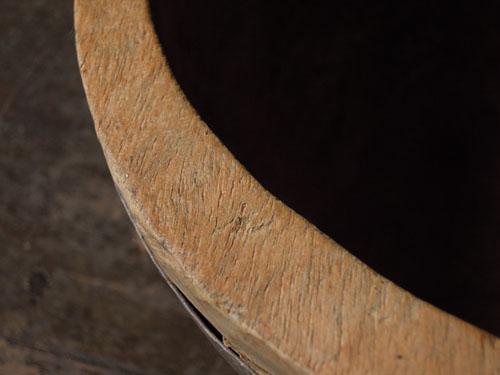 木部素材感,アンティーク,器,ボウル,木製,プリミティブ,金具,刳り貫き型,雑貨,古道具