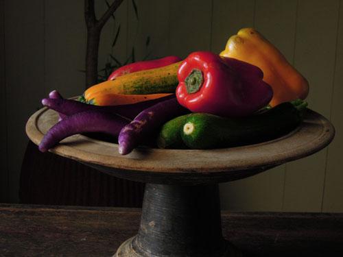 野菜やフルーツをストックしても,アンティーク,器,高杯,木製,プリミティブ,古道具