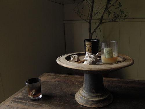 キャンドルなどを飾るのにも,アンティーク,器,高杯,木製,プリミティブ,古道具