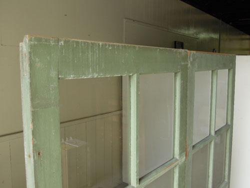 上部の状態,アンティーク,ドア,建具,引戸,ペイント,ペールグリーン,リノベーション,店舗