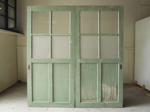 裏側正面,アンティーク,ドア,建具,引戸,ペイント,ペールグリーン,リノベーション,店舗