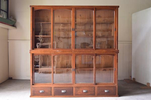 アンティーク,食器棚,本棚,陳列棚,特大,ガラスケース