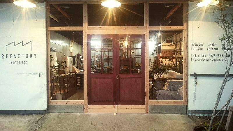 アンティークドア,ファサード,REFACTORY antiques,木製建具,店舗入り口,工場リノベーション