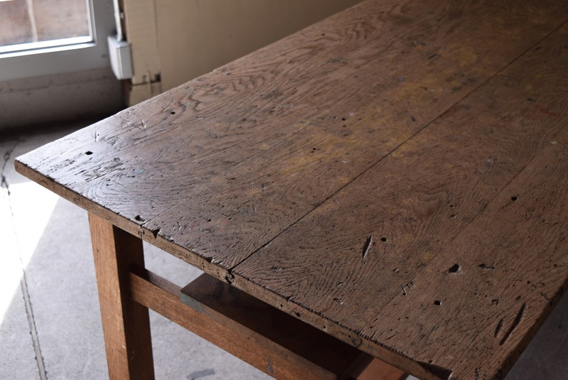 アンティーク,楢材,ナラ材,テーブル,作業台,学校,アトリエ,図工室,味,天板