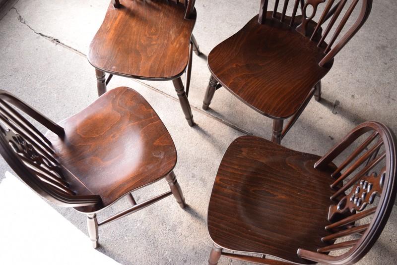 座面の状態,アンティーク,ヴィンテージ,ダイニングテーブル,ダイニングチェア,ホイールバックチェア,椅子,イギリス,アーリーアメリカン,カントリー