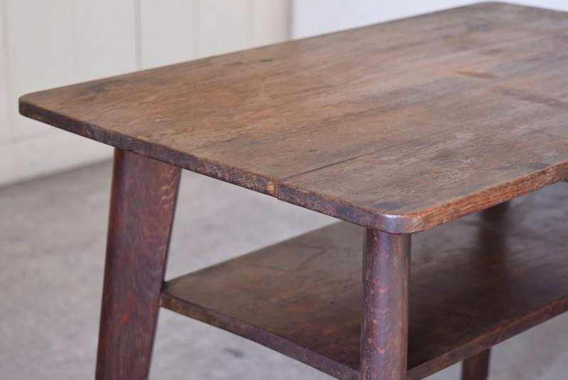 アンティーク,ヴィンテージ,テーブル,センターテーブル,ナラ材,楢材,カフェ,天板厚