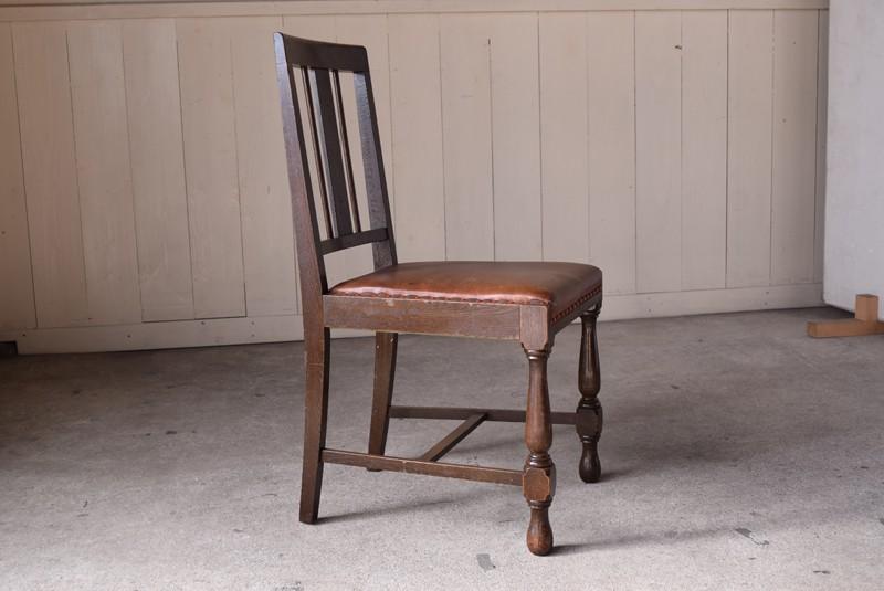 フレームはナラ材,アンティーク,ハイバックチェア,チェア,椅子,楢,レザー,書斎,洋館,ヨーロッパ