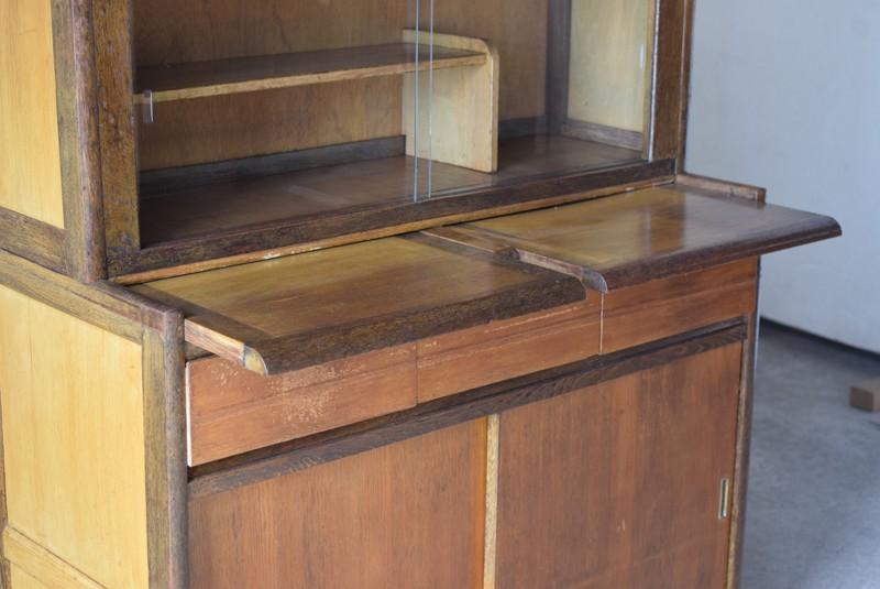 作業台つき,アンティーク,食器棚,モールガラス,クリアガラス,収納,キッチン