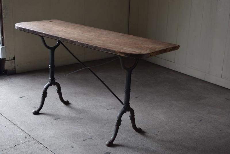 雰囲気たっぷり,アンティーク,鉄脚,テーブル,什器,作業台,フランス
