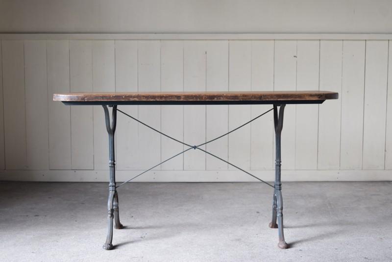 正面,アンティーク,鉄脚,テーブル,什器,作業台,フランス