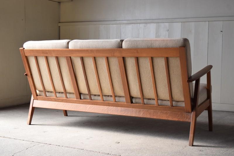 背面,オーク材,3人掛けソファ,デンマーク,チーク材,ヴィンテージ,60's,70's、