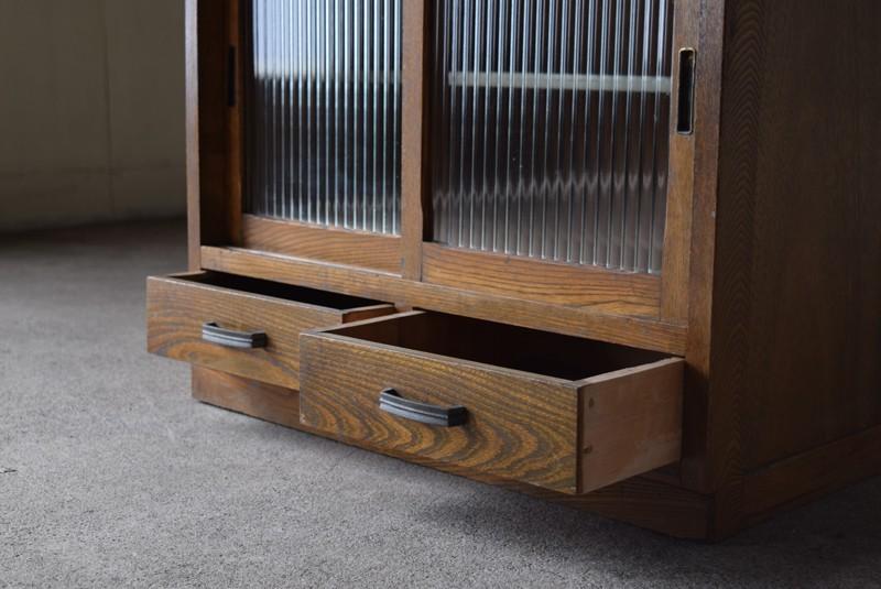引き出しは2杯,アンティーク,収納,食器棚,戸棚,モールガラス,小振り,古道具
