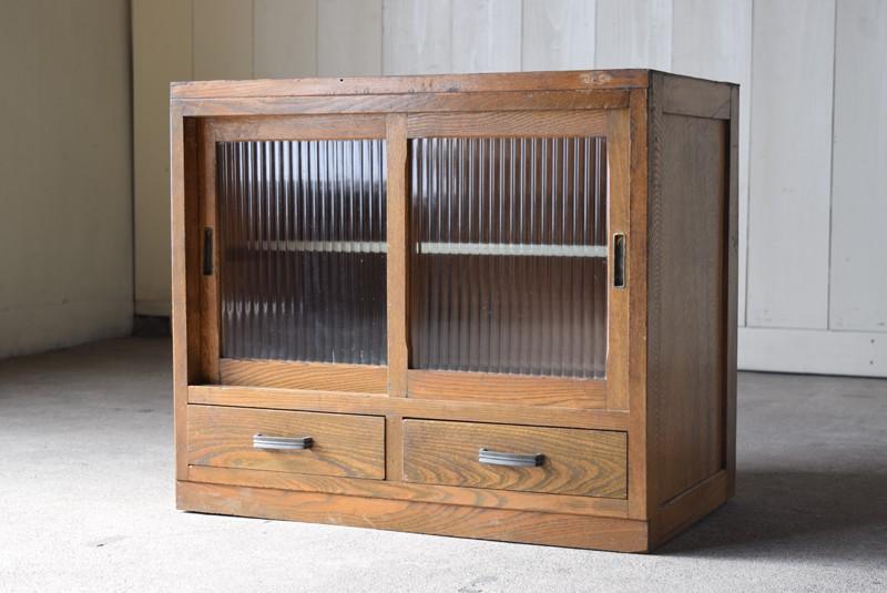 アンティーク,収納,食器棚,戸棚,モールガラス,小振り,古道具