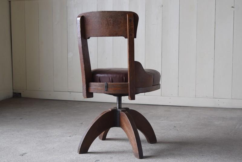 背面,アンティーク,ヴィンテージ,チェア,椅子,回転椅子,郵便局,木製