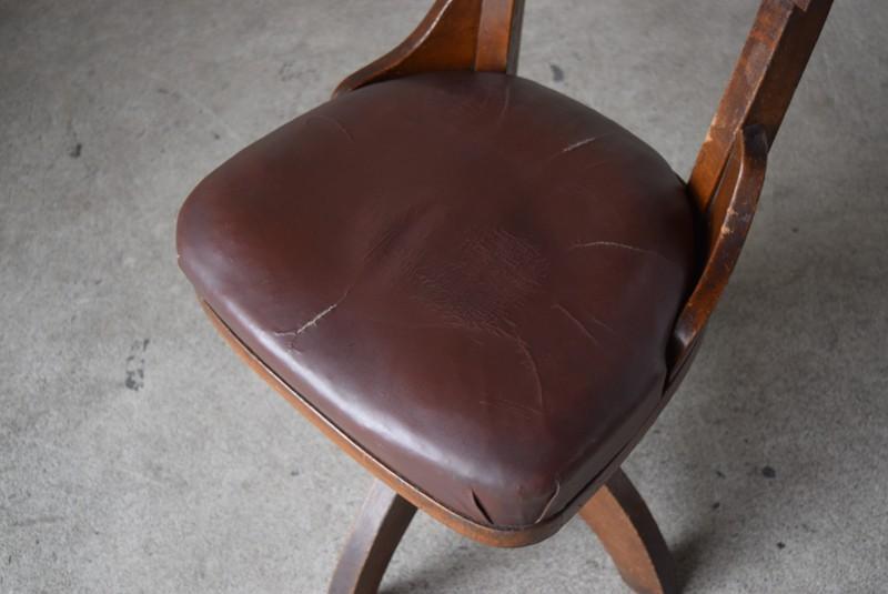 座面の状態,アンティーク,ヴィンテージ,チェア,椅子,回転椅子,郵便局,木製