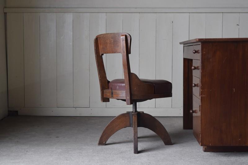 アンティーク 楢材 郵便局の仕分け回転椅子 チェア 丸イス スツール 作業椅子