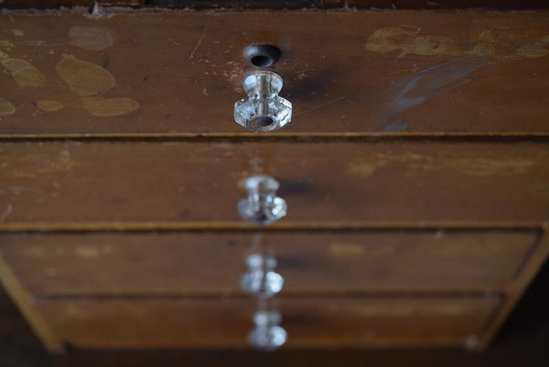 ガラスのつまみが珍しい,アンティーク,ヴィンテージ,小引き出し,レターケース,パーツケース,書類ケース,希少